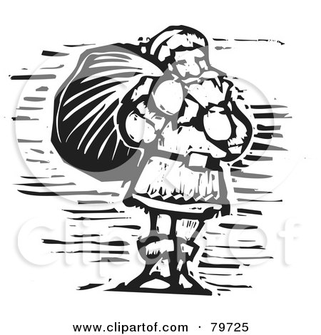 Royalty-Free (RF) Clipart Illustration of a Black And White Carved Santa Carrying A Sack by xunantunich