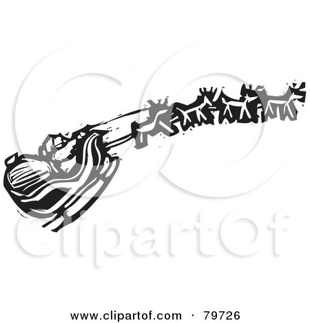 Royalty-Free (RF) Clipart Illustration of a Black And White Carving Of Santas Sleigh And Reindeer by xunantunich