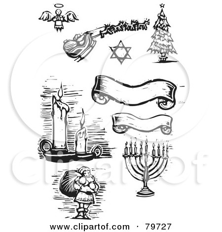 Royalty-Free (RF) Clipart Illustration of a Digital Collage Of Carved Black And White Banners, Candles, Santa, Menorah, Christmas Tree, Star Of David And Angel by xunantunich