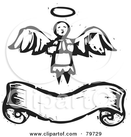 Royalty-Free (RF) Clipart Illustration of a Black And White Praying Angel Over A Banner, With A Carved Texture by xunantunich