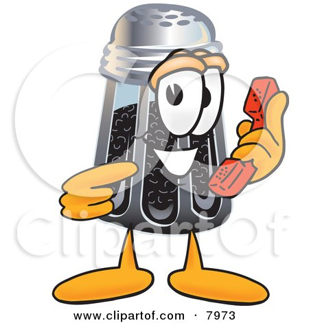 Clipart Picture of a Pepper Shaker Mascot Cartoon Character Holding a Telephone by Toons4Biz