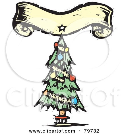 Royalty-Free (RF) Clipart Illustration of a Carved Trimmed Christmas Tree Under A Yellow Banner by xunantunich