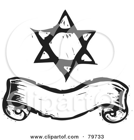 Clipart of a Doodled Star of David with Hearts Swirls and Flowers ...