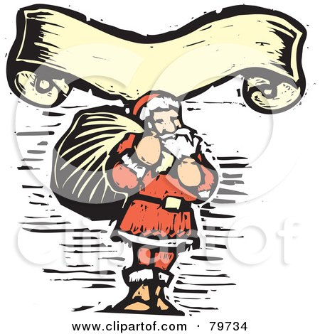 Royalty-Free (RF) Clipart Illustration of a Carved Santa Carrying A Sack Under A Yellow Banner by xunantunich