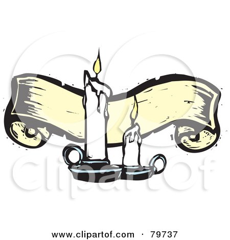 Royalty-Free (RF) Clipart Illustration of Two Melting Candles In Front Of A Yellow Carved Banner by xunantunich