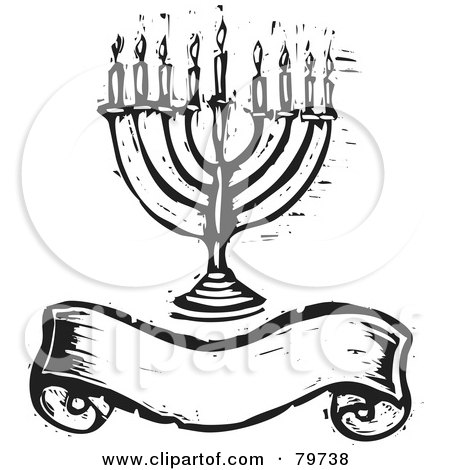 Royalty-Free (RF) Clipart Illustration of a Black And White Carved Menorah Over A Blank Banner by xunantunich