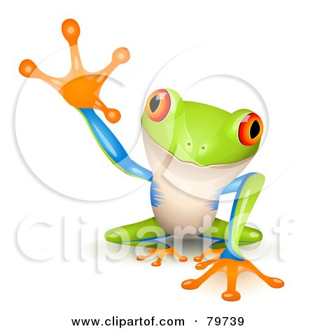 Royalty-Free (RF) Clipart Illustration of an Adorable Tree Frog With A Raised Foot by Oligo