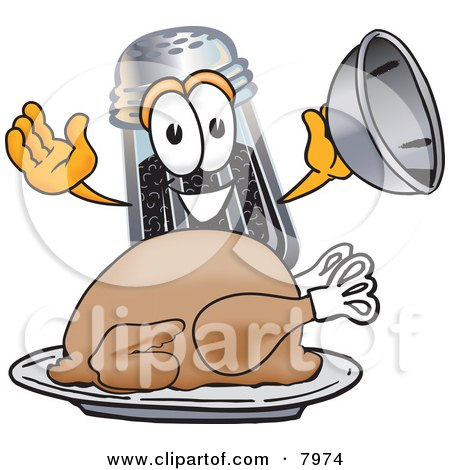 Clipart Picture of a Pepper Shaker Mascot Cartoon Character Serving a Thanksgiving Turkey on a Platter by Toons4Biz