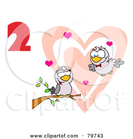 Royalty-Free (RF) Clipart Illustration of a Red Number Two Over Two Turtle Doves By A Branch In Front Of A Big Heart by Hit Toon