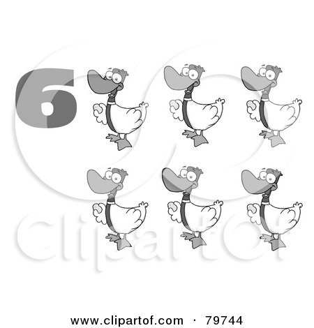Royalty-Free (RF) Clipart Illustration of a Black And White Number Six By Geese Laying Eggs by Hit Toon
