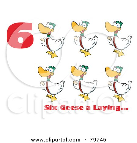 Royalty-Free (RF) Clipart Illustration of a Red Number Six With Text By Geese Laying Eggs by Hit Toon