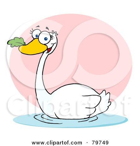 Royalty-Free (RF) Clipart Illustration of a Swimming Swan With A Leaf In Its Beak by Hit Toon