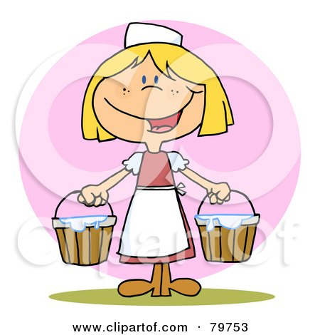 Royalty-Free (RF) Clipart Illustration of a Friendly Blond Maid Carrying Milk Buckets by Hit Toon