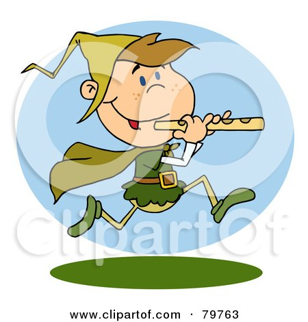 Royalty-Free (RF) Clipart Illustration of a Running Piper by Hit Toon