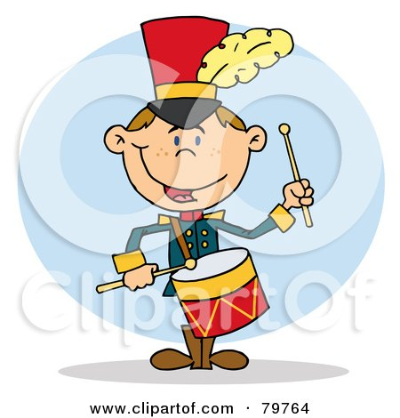 Royalty-Free (RF) Clipart Illustration of a Happy Drummer Drumming by Hit Toon