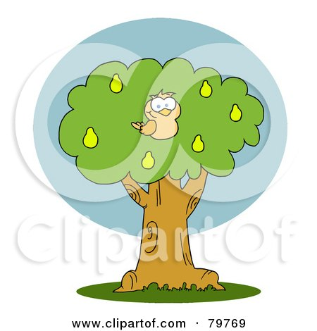 Royalty-Free (RF) Clipart Illustration of a Yellow Partridge In A Pear Tree by Hit Toon