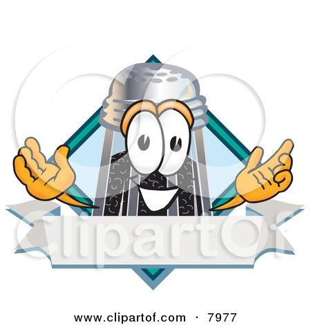 Clipart Picture of a Pepper Shaker Mascot Cartoon Character With a Blank Label by Toons4Biz