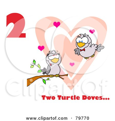 Royalty-Free (RF) Clipart Illustration of a Red Number Two And Text By Two Turtle Doves By A Branch In Front Of A Big Heart by Hit Toon