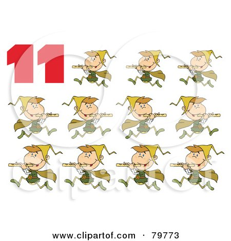 Royalty-Free (RF) Clipart Illustration of a Red Number 11 By Eleven Pipers Piping by Hit Toon