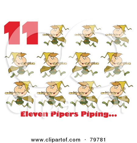 Royalty-Free (RF) Clipart Illustration of a Red Number 11 And Text By Eleven Pipers Piping by Hit Toon