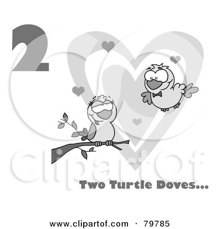 Royalty-Free (RF) Clipart Illustration of a Black And White Number Two And Text By Two Turtle Doves By A Branch In Front Of A Big Heart by Hit Toon