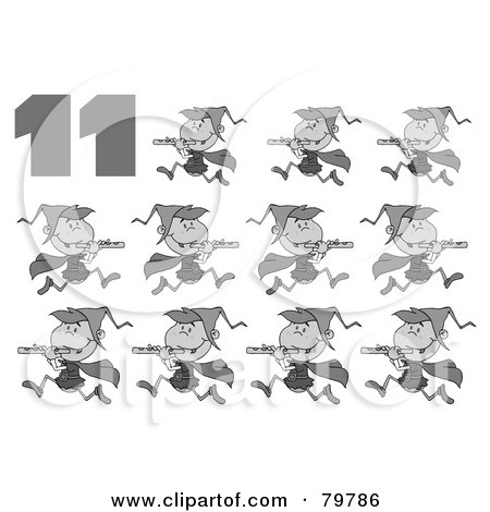Royalty-Free (RF) Clipart Illustration of a Black And White Number 11 By Eleven Pipers Piping by Hit Toon