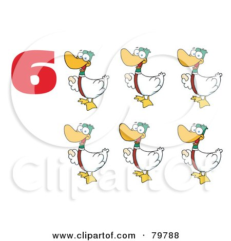 Royalty-Free (RF) Clipart Illustration of a Red Number Six By Geese Laying Eggs by Hit Toon