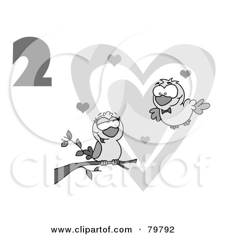 Royalty-Free (RF) Clipart Illustration of a Black And White Number Two Over Two Turtle Doves By A Branch In Front Of A Big Heart by Hit Toon