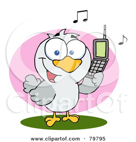 Royalty-Free (RF) Clipart Illustration of a Calling Bird Holding A Cell Phone by Hit Toon