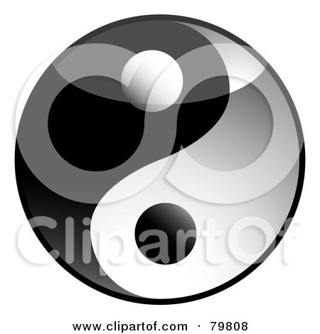 Royalty-Free (RF) Clipart Illustration of a Shiny 3d Yin Yang Symbol by michaeltravers