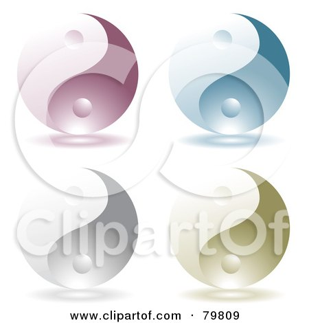 Royalty-Free (RF) Clipart Illustration of a Digital Collage Of Four Purple, Blue, Silver And Green Yin Yang Symbols by michaeltravers
