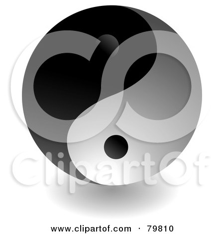 Royalty-Free (RF) Clipart Illustration of a Dark Yin Yang With Shading by michaeltravers