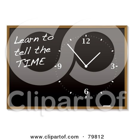 Royalty-Free (RF) Clipart Illustration of a Clock And Learn To Tell The Time On A Blackboard by michaeltravers