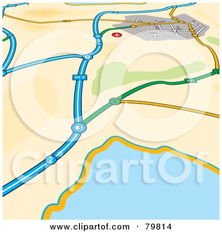 Royalty-Free (RF) Clipart Illustration of a GPS Map Of Roads Near A Body Of Water by michaeltravers