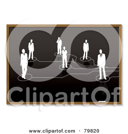 Royalty-Free (RF) Clipart Illustration of a Sketch Of Networked People On A Blackboard by michaeltravers