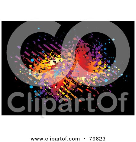 Royalty-Free (RF) Clipart Illustration of Colorful Splatters And Stripes On Black by michaeltravers