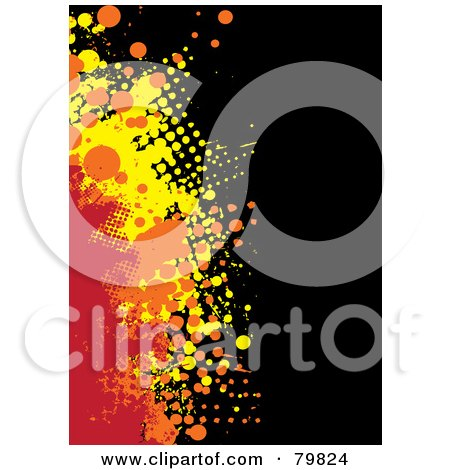 Royalty-Free (RF) Clipart Illustration of a Grungy Background Of Red, Orange And Yellow Halftone Splatters On Black by michaeltravers