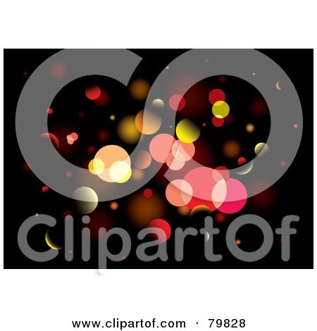 Royalty-Free (RF) Clipart Illustration of a Background Of Glittery Lights On Black by michaeltravers