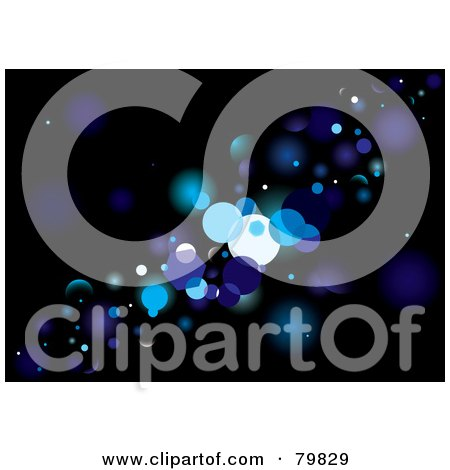Royalty-Free (RF) Clipart Illustration of a Background Of Blue Glittery Lights On Black by michaeltravers