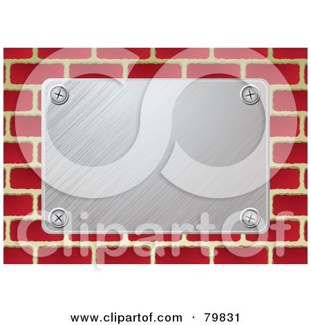 Royalty Free RF Clipart Illustration Of A Brushed Silver Metal Plate On Bricks