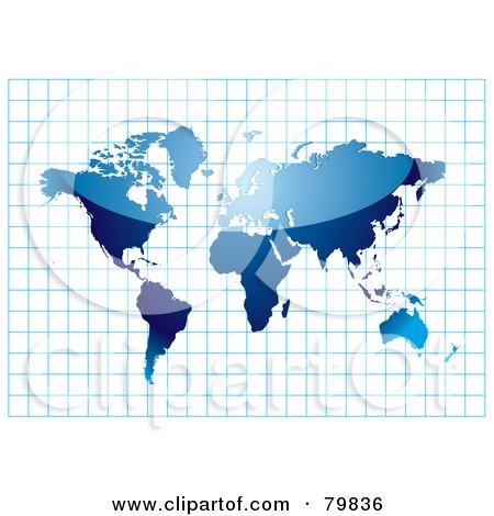 Royalty-Free (RF) Clipart Illustration of a Shiny Blue Atlas On A Blue Graph by michaeltravers