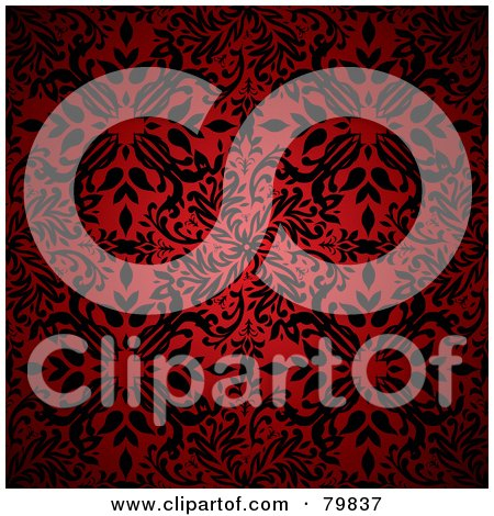 Black Floral Pattern Over Red Posters, Art Prints