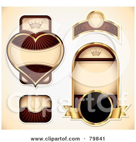 Royalty-Free (RF) Clipart Illustration of a Digital Collage Of Gold And Red Vintage Labels by TA Images