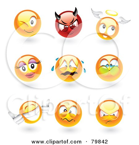Royalty-Free (RF) Clipart Illustration of a Digital Collage Of 3d Emoticon Faces; Winking, Devil, Angel, Feminine, Crying, Holding Breath, Thumbs Up, Mad And Upset by TA Images
