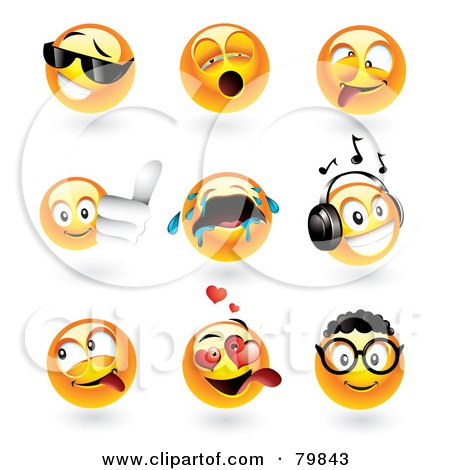 Royalty Free RF Clipart Illustration Of A Digital Collage Of 3d Emoticon Faces Cool Yawning Goofy Thumbs Up Crying Music Teasing Amorous And Nerd