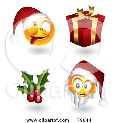 Royalty-Free (RF) Clipart Illustration of a Digital Collage Of 3d Christmas Emoticon Faces; Santas, Holly And Gift by TA Images