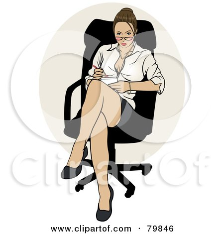 Royalty-Free (RF) Clipart Illustration of a Sexy Brunette Business Pinup Woman Sitting In A Chair by r formidable