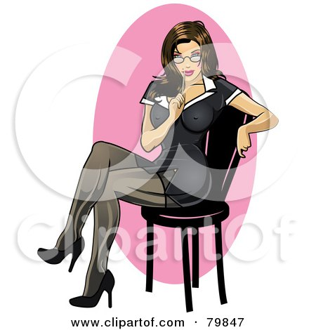 Sexy Brunette Secretary Pinup Woman Sitting In A Black Dress Posters, Art Prints