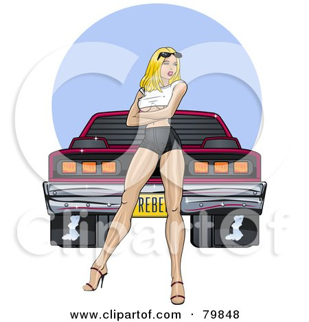 Royalty-Free (RF) Clipart Illustration of a Sexy Pinup Woman Standing In Front Of A Tough Muscle Car by r formidable