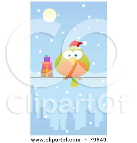 Royalty-Free (RF) Clipart Illustration of a Chubby Green And Orange Christmas Bird Wearing A Santa Hat And Perched By Gifts On A City Wire In The Snow by Qiun
